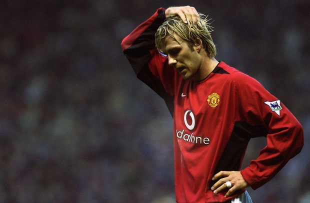 David Beckham of Manchester United looking dejected